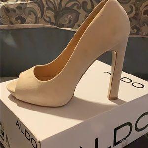 Aldo Cream Suede Platform Heels